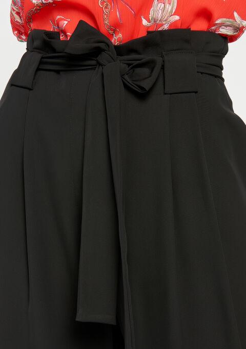 Broek met brede pijpen, paperbag - BLACK - 935616