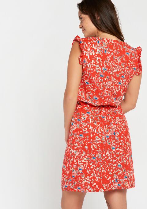 Mini jurk bloemenprint - FLAME RED - 08101194_1389