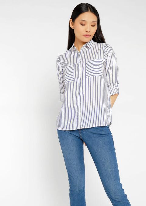 Gestreepte blouse met zakken - NAVY MIST - 958087