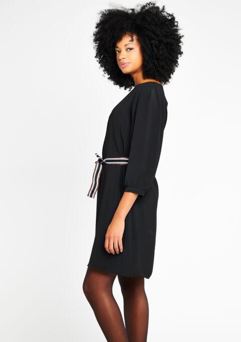 Effen jurk met lurex-riem - BLACK - 08100169_1119
