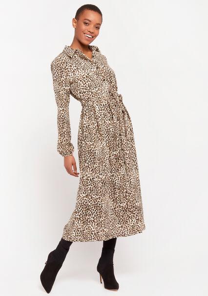 Shirt dress with leopard print - BEIGE BROWN - 08601042_4014