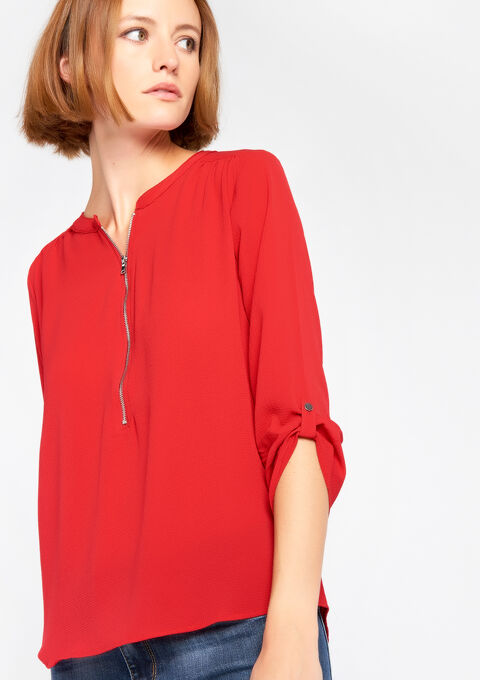 Effen blouse met oosterse kraag - JESTER RED - 05003463_1445