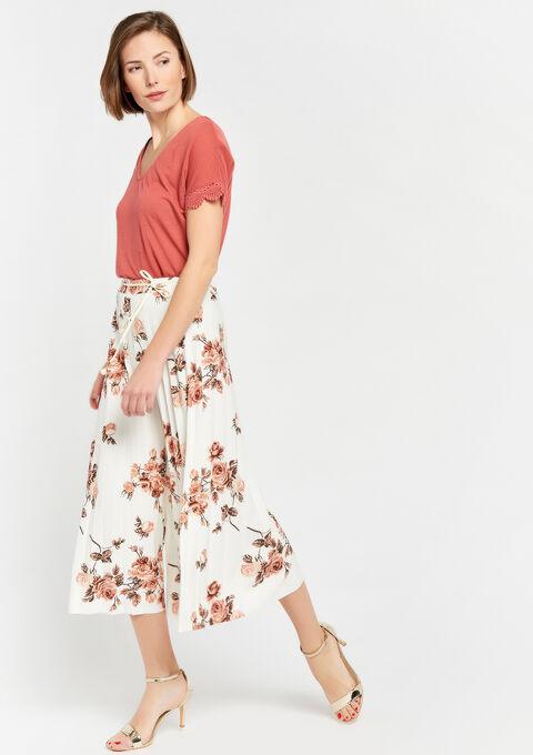 Plissé culotte met rozenprint - OFFWHITE - 06600119_1001