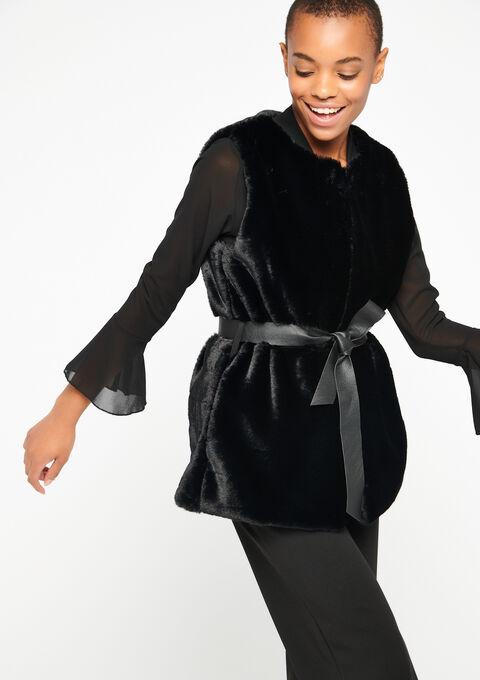 Vest zonder mouwen in imitatiebont - BLACK - 23000063_1119