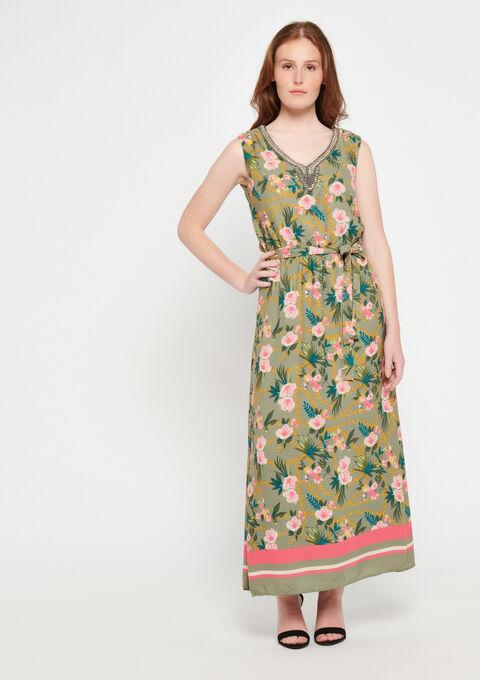 Robe longue, imprimé, col décoré - KHAKI DUSKY - 08600095_4402