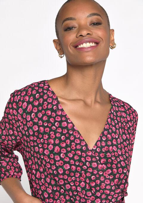 Cache-coeur jurk met bloemenprint - PINK FRAMBOISE - 08601077_5622