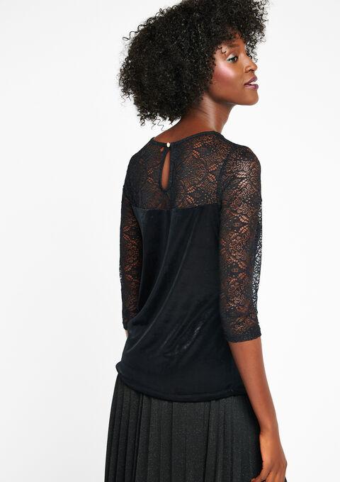 T-shirt met kant en fluweel - BLACK - 02300055_1119