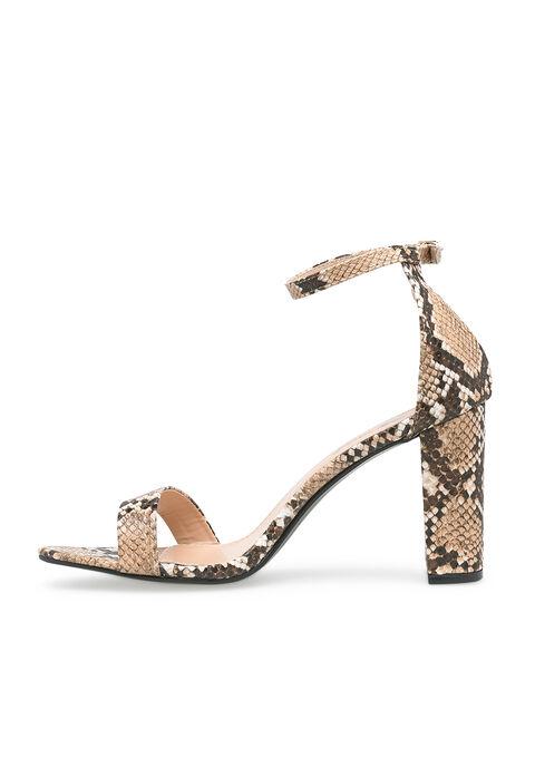 Sandals with python print, heel 8 cm - BEIGE MEL - 13000369_1004
