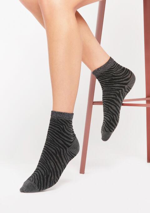 Sokken met zebra print - ANTHRACITE - 969207