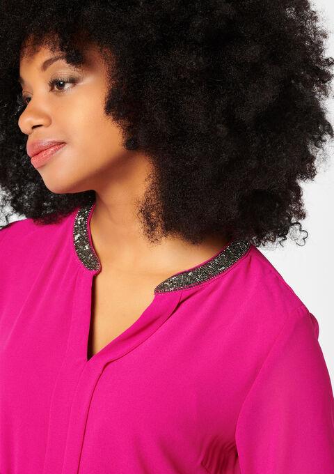 Effen blouse, kraag met lovertjes - VIOLET VIVID - 917647