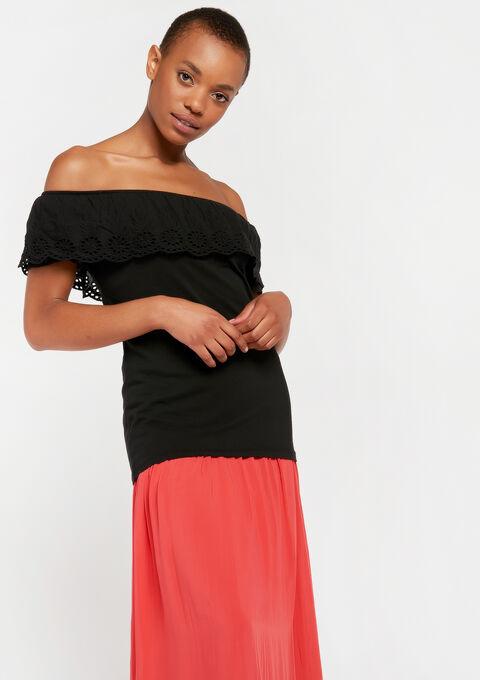 Open schouders t-shirt - BLACK IRIS - 02100156_1667