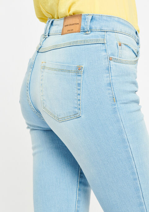Slim fit jeans, cropped - BLUE BLEACHED - 22000024_502