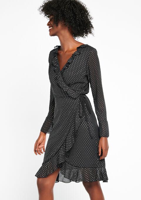 Cache-cœur jurk met ruches & print - BLACK - 08100370_1119