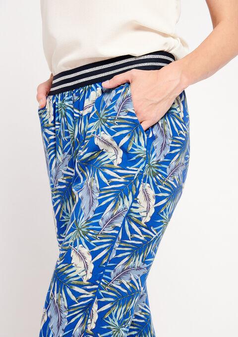 Losse broek met tropische print - BLUE ELECTRICAL - 06600087_2805