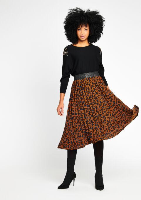 ea2edcc13644 Pleaded midi-skirt with leopard print - ARGAN CAMEL - 07100083_3802