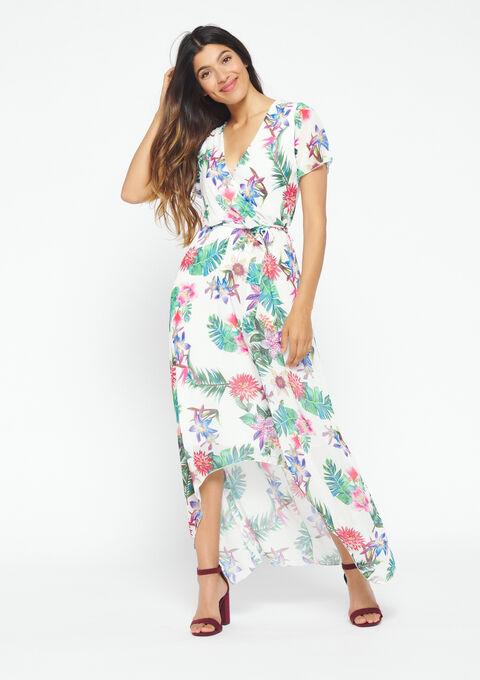 Lange jurk met bloemen - WHITE ALYSSUM - 08600170_2502