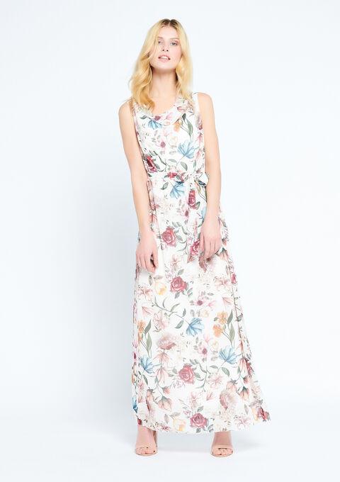 Lange jurk met bloemenprint - WHITE ALYSSUM - 08600123_2502