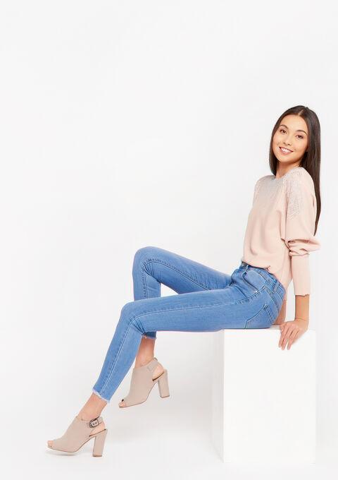 Skinny jeans met franje zoom - BLUE BLEACHED - 22000200_502