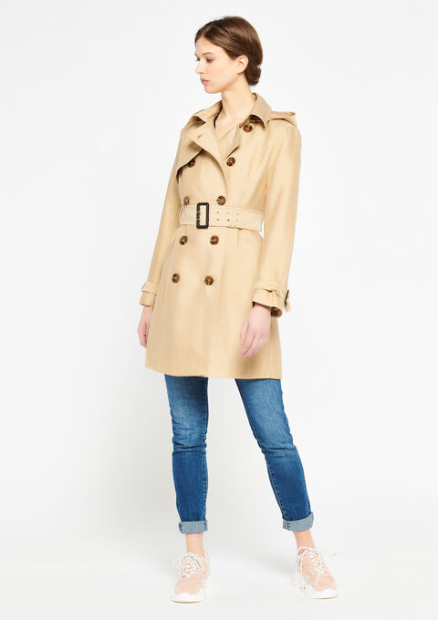 Double breasted trench coat - CAMEL ALMOND - 932404