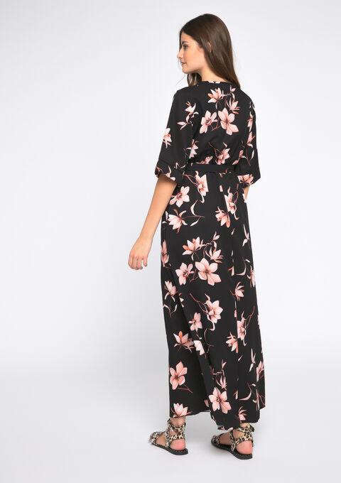 robe longue manches kimono - BLACK - 08600980_1119