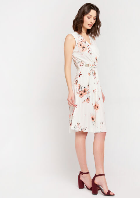 Cache-coeur jurk met bloemenprint - OFFWHITE - 08102139_1001