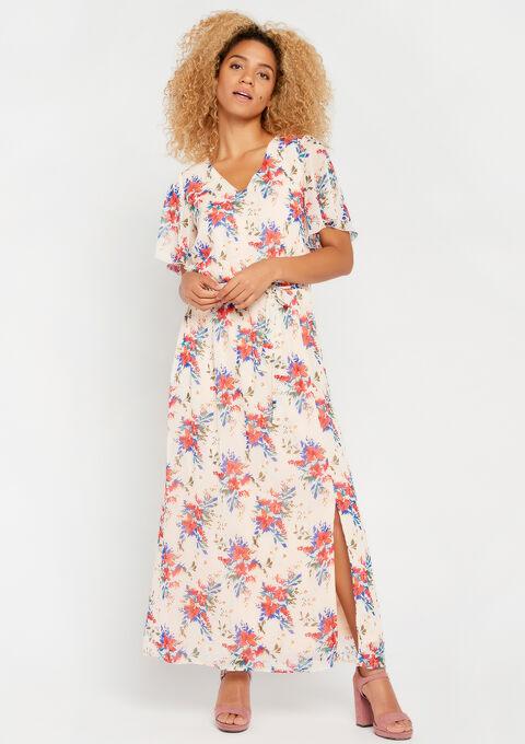 Robe longue, manches courtes, à fleurs - PINK CALM - 08600101_4102