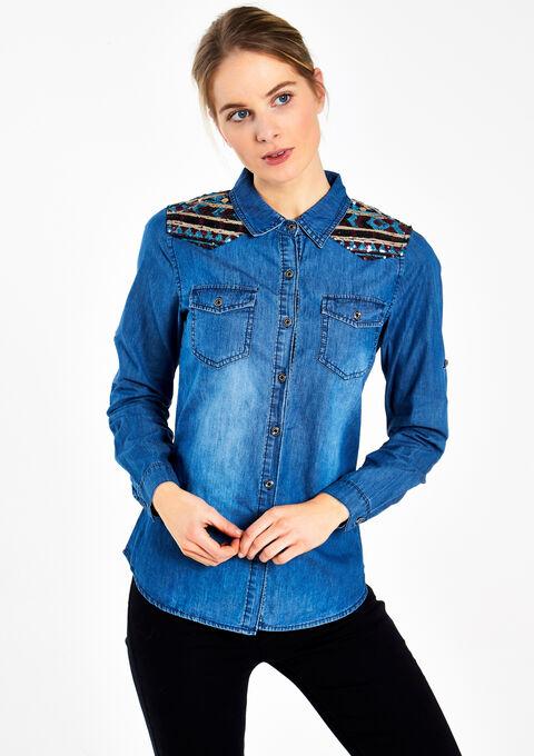 Jeanshemd met strass - MEDIUM BLUE - 05003317_500