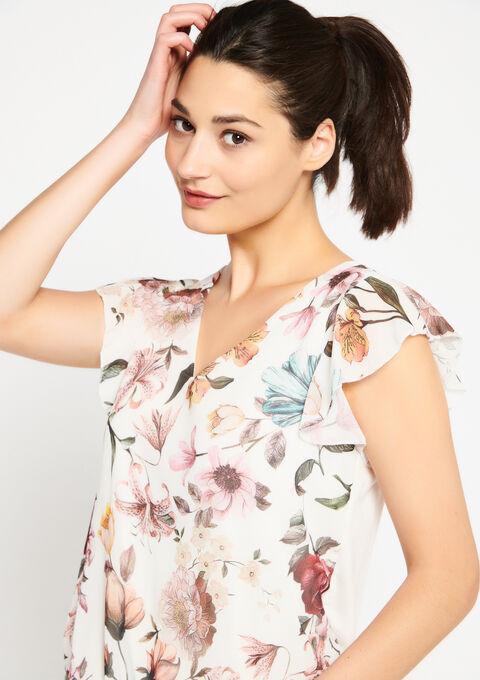 T-shirt met bloemenprint - WHITE ALYSSUM - 02300268_2502