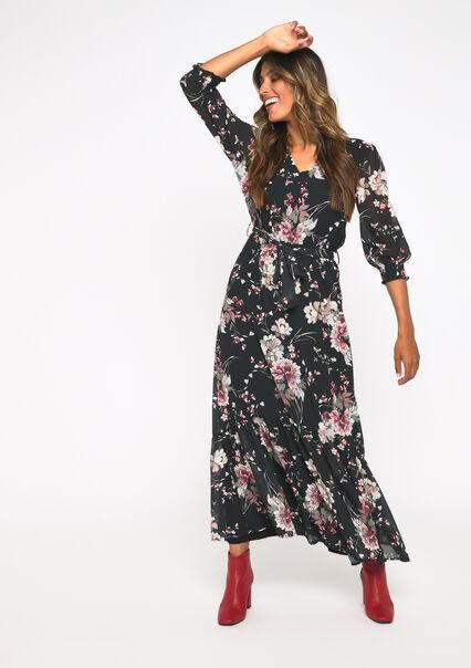 Maxi robe imprimé fleur - BLACK - 08600983_1119