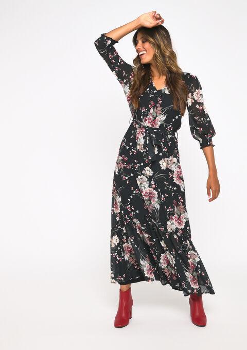 Maxi jurk bloemenprint - BLACK - 08600983_1119