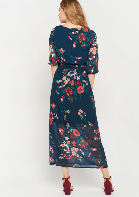 Maxi robe imprimé floral - NAVY BLUE - 08600988_1651
