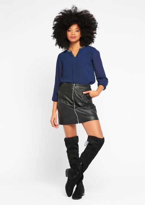 Effen blouse, kraag met lovertjes - NAVY PAPER - 917640
