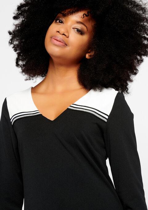 Rechte jurk, 2 kleuren en tape - BLACK - 932179