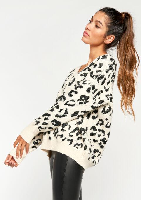 Pull léopard, col-v - IVORY WHITE - 919930