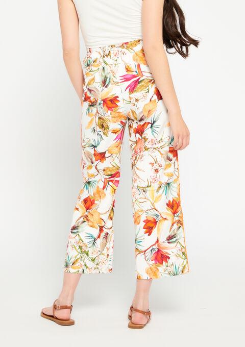 Wijde broek 3/4 bloemenprint - ECRU WHITE - 958682