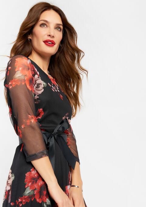 Visnet jurk met bloemenprint - RED RACING - 08101600_1497