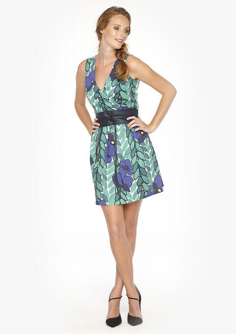 ba516b296e1e65 Geprinte jurk met wikkeleffect - GREEN APPLE - 08005250 1783