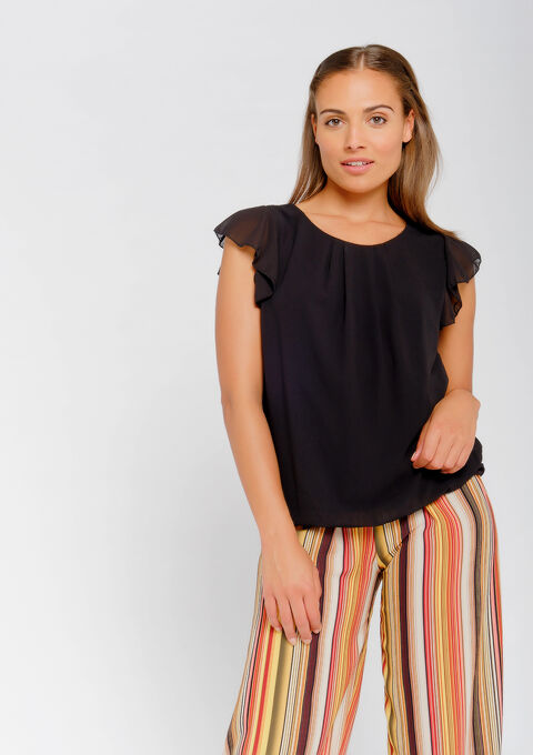Blouse mouwen met ruches - BLACK - 965682