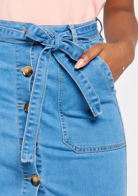 Jeansrok met knopen & riem - MEDIUM BLUE - 07100215_500