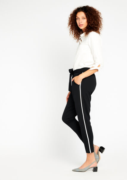 Loose trousers with side tape - BLACK - 06003747_1119
