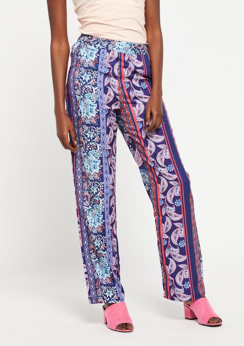 Wijde broek met foulard-print - NAVY HEAVEN - 931751