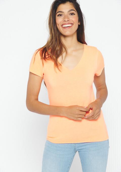 Fluo t-shirt met v-hals - FLUO ORANGE - 02300286_5205