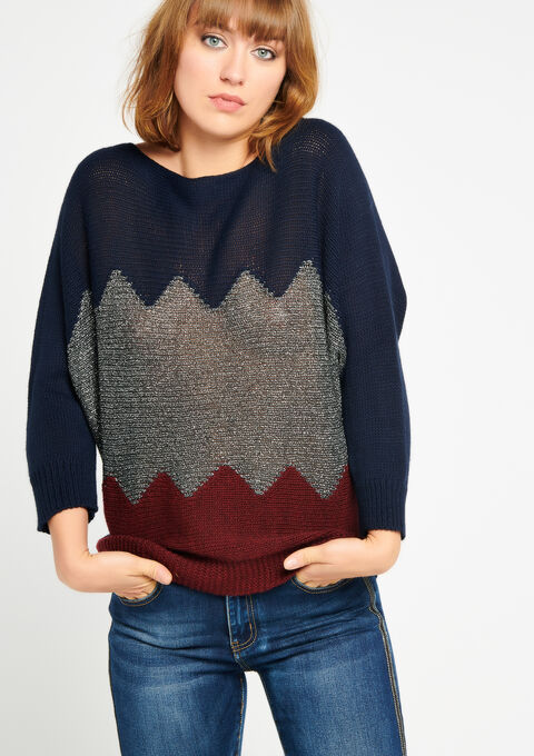 Color block sweater with boat neck - NAVY BLUE - 04004680_1651