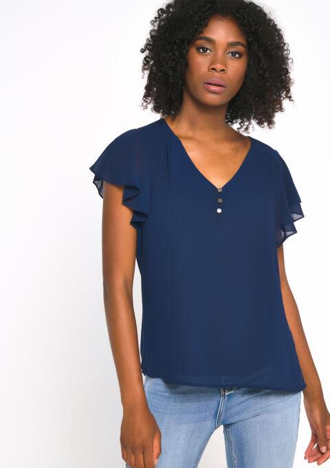 Blouse korte mouwen - NAVY BLUE - 05700356_1651