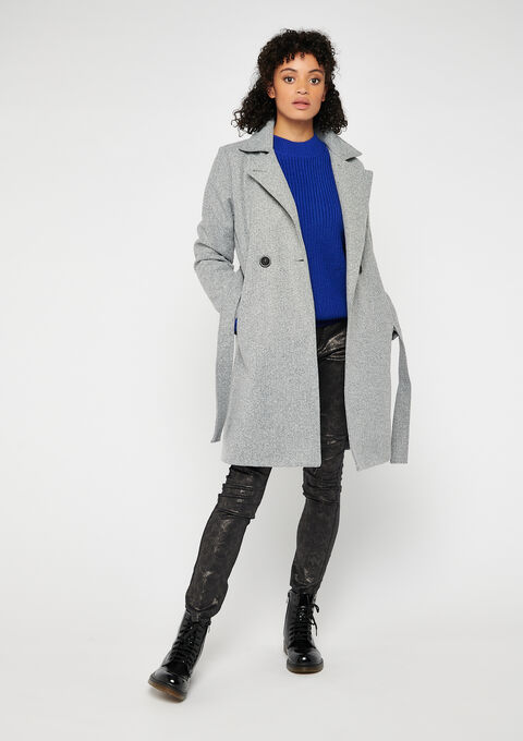 Midi coat - LIGHT GREY - 23000176_1076