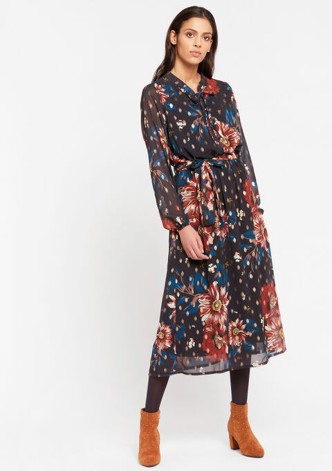Robe à fleurs col lavallière - TOFFEE BROWN - 08601054_1154