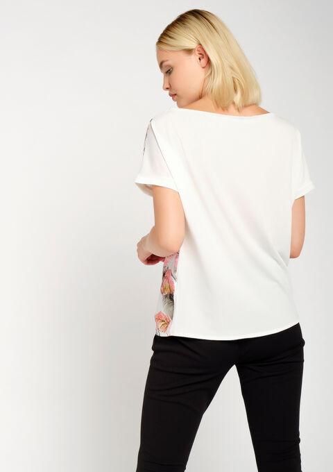 T-shirt bi-matière, imprimé tropical - KHAKI GREEK - 02300456_4309