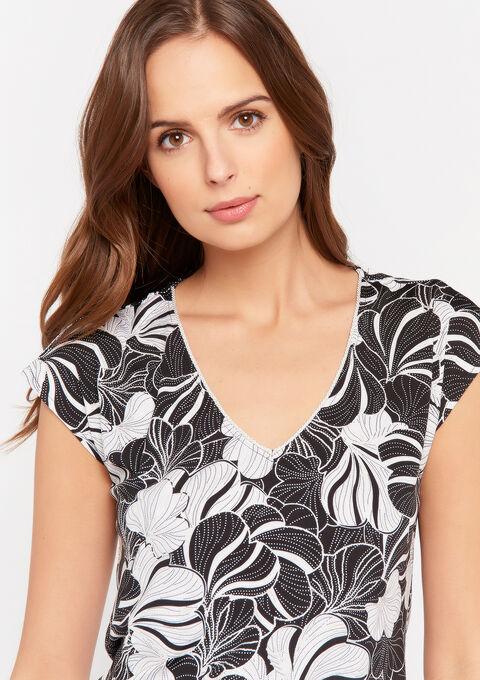 T-shirt met V-hals en bloemenprint - BLACK - 02300729_1119
