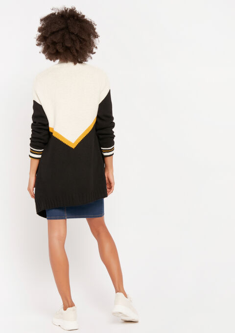 Cardigan met color block - BLACK - 04100677_1119