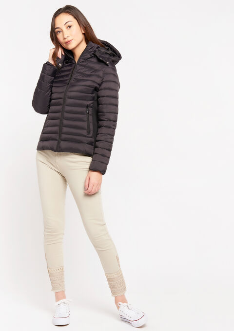 Light puff jacket with removable hood - BLACK - 23000218_1119